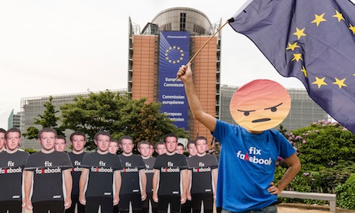 A protest against Facebook outside the European Union's executive headquarters in Brussels last May.